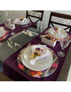Kit Mesa Posta 15 peças Uva Floral