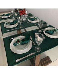 Kit Mesa Posta 15 peças Natal Verde Esmeralda