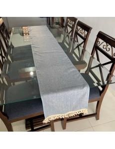 Trilho de Mesa Azul Rústico com Franjas