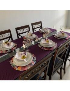 Kit Mesa Posta 20 peças Uva Floral