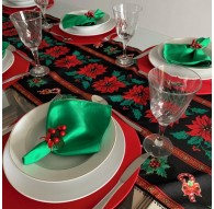 Kit Mesa Posta 13 peças Natal Trilho Preto Floral
