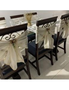 Kit Mesa Posta 15 peças Natal Dourado com Capas de Cadeira