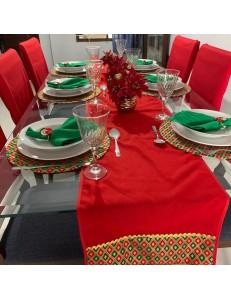 Kit Mesa Posta 19 peças Natal com Capas de Cadeira