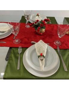 Kit Mesa Posta 9 peças Natal Veludo e Tafetá