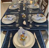 Kit Mesa Posta 15 peças Camurça Azul e Franja