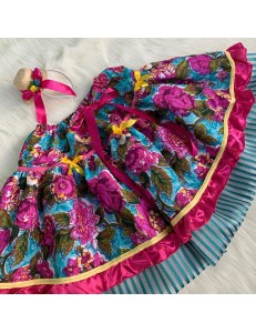 Saia/Tiara Junina Floral Azul e Rosa Adulto