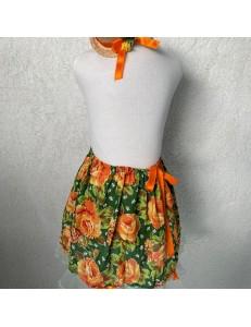 Saia/Tiara Junina Chita Floral 8 a 10 anos