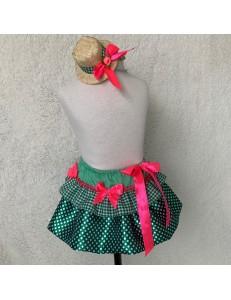 Saia/Tiara Junina Verde e Rosa Neon 2 a 4 anos